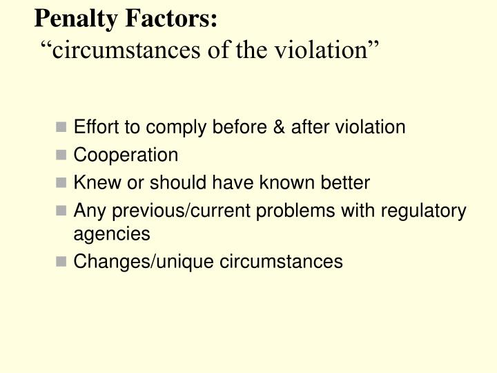 Penalty Factors: