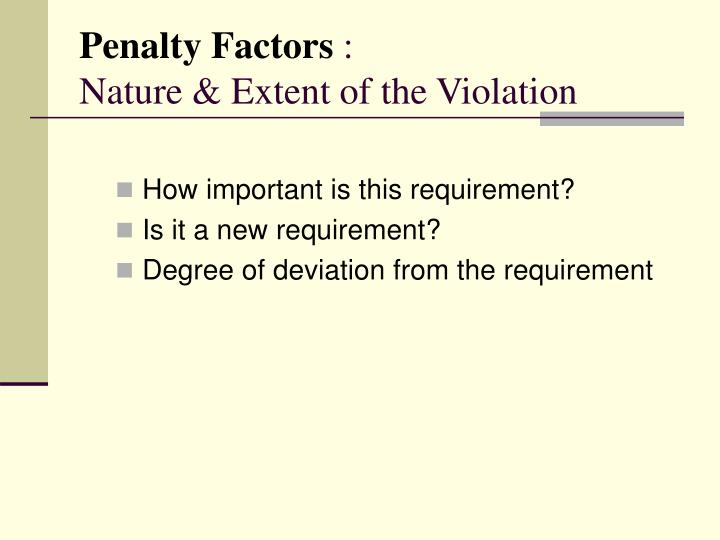Penalty Factors