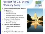 forecast for u s energy efficiency policy