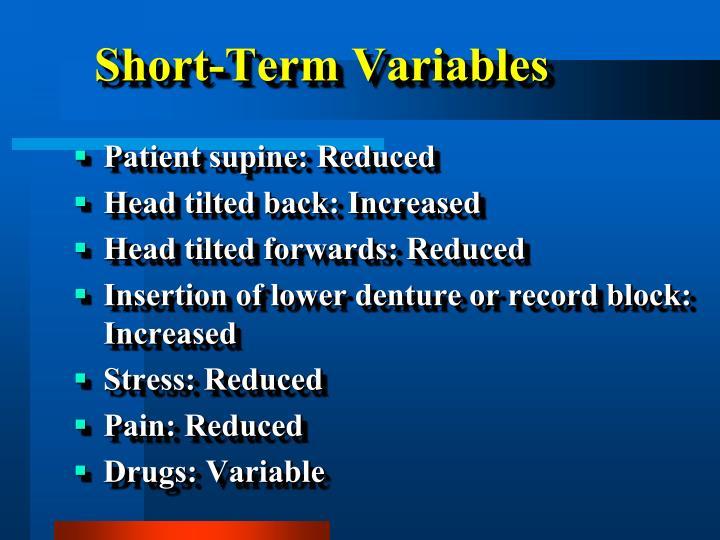 Short-Term Variables