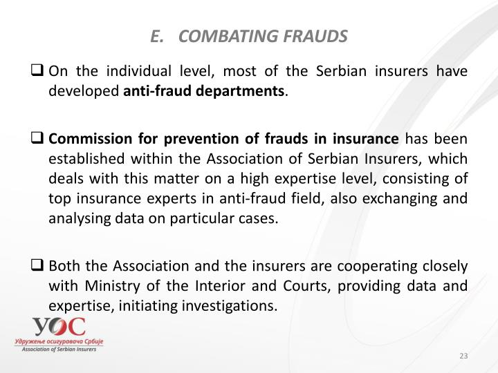 COMBATING FRAUDS