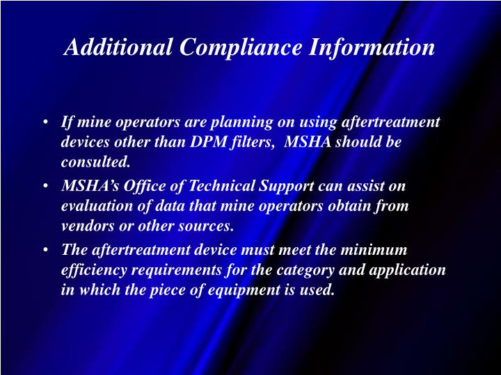 Additional Compliance Information