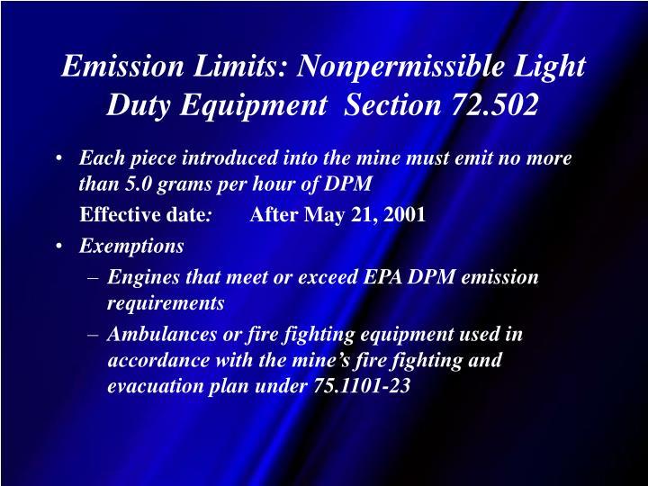 Emission Limits: Nonpermissible Light Duty Equipment  Section 72.502