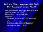 emission limits nonpermissible light duty equipment section 72 502