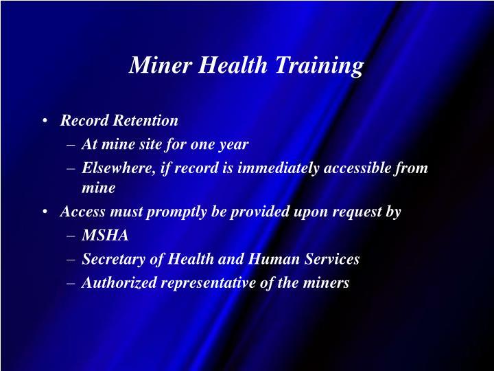 Miner Health Training