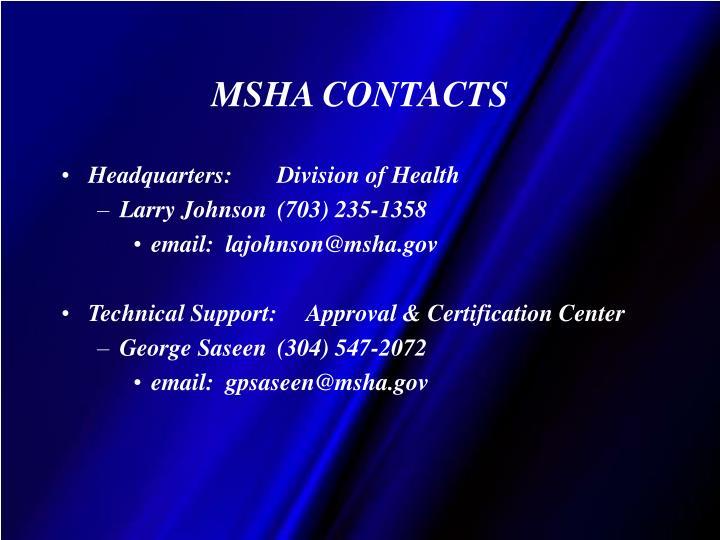 MSHA CONTACTS