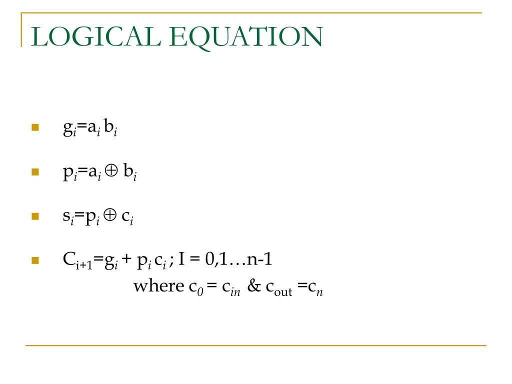 LOGICAL EQUATION