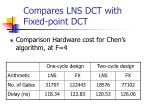 compares lns dct with fixed point dct