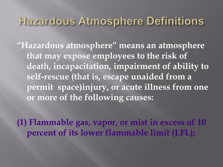 Hazardous Atmosphere Definitions