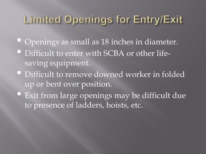 Limited Openings for Entry/Exit
