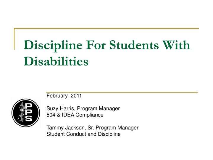 discipline for students with disabilities n.