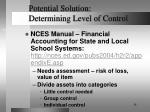 potential solution determining level of control