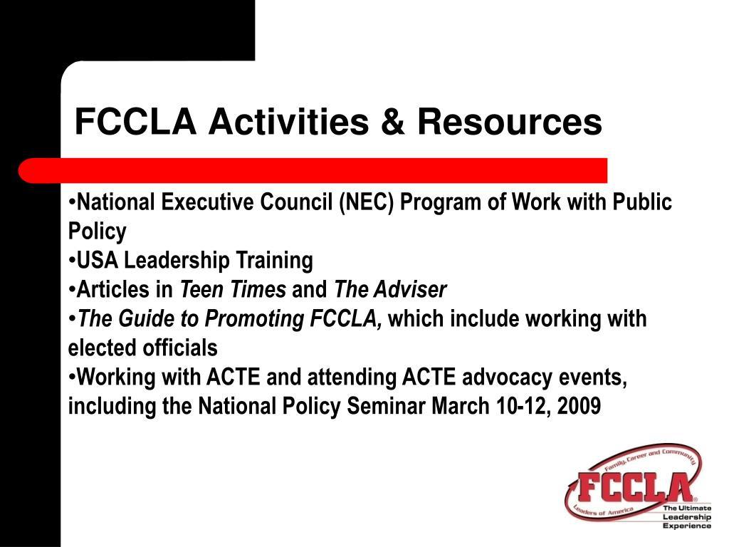 FCCLA Activities & Resources
