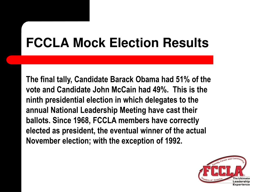 FCCLA Mock Election Results