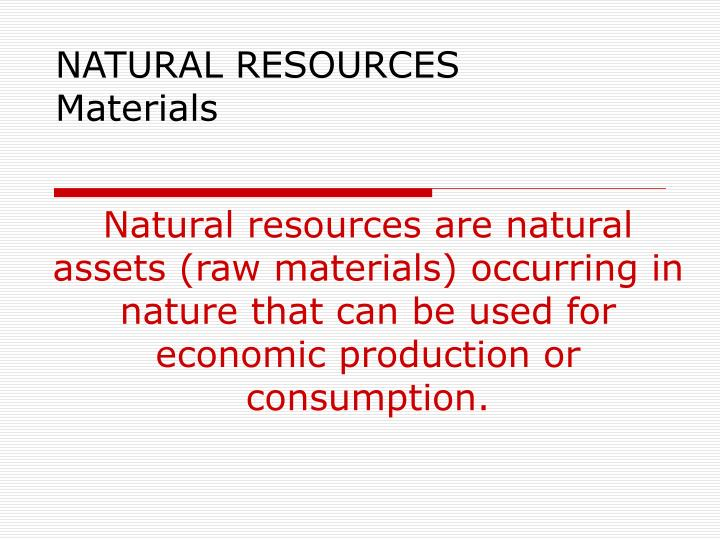natural resources materials n.