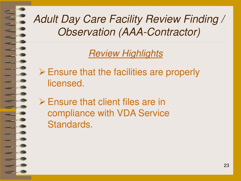 Adult Day Care Facility Review