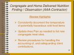 congregate and home delivered nutrition finding observation aaa contractor