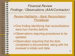 financial review findings observations aaa contractor13