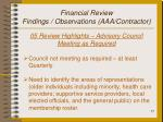 financial review findings observations aaa contractor17
