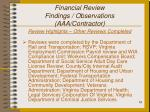 financial review findings observations aaa contractor19