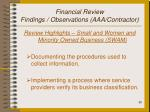 financial review findings observations aaa contractor20