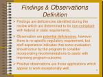 findings observations definition