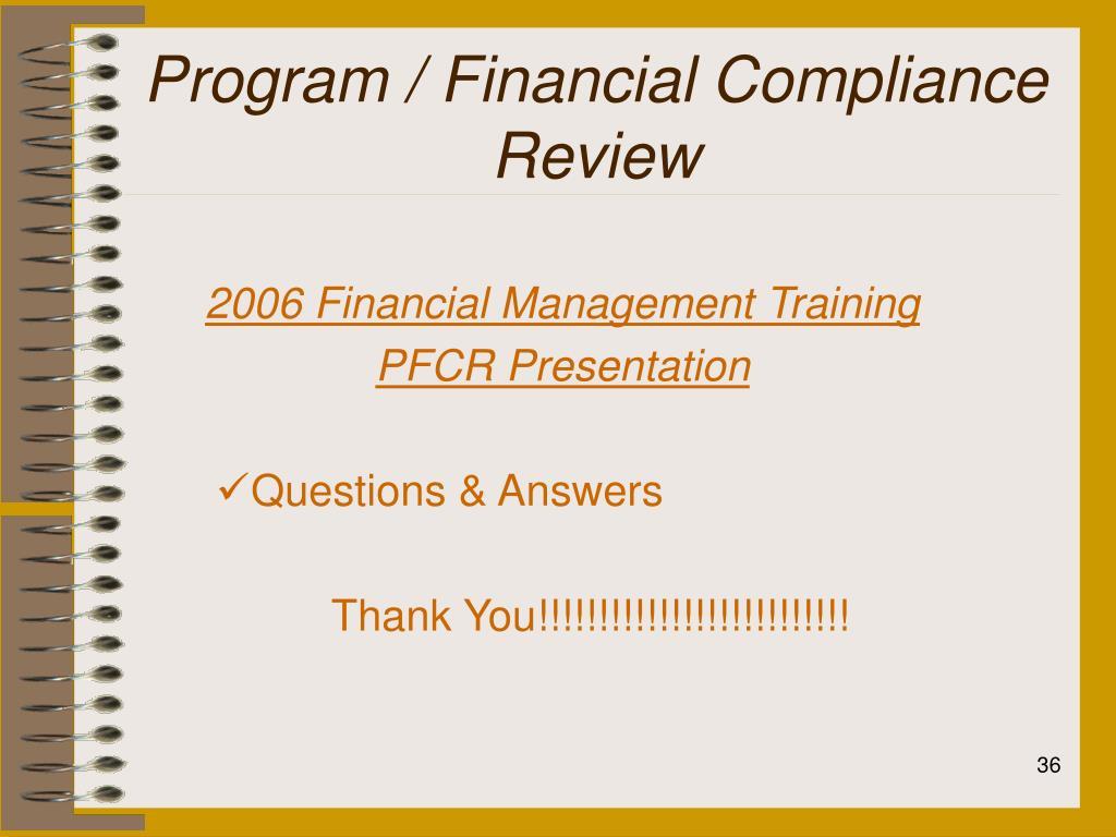 Program / Financial Compliance Review