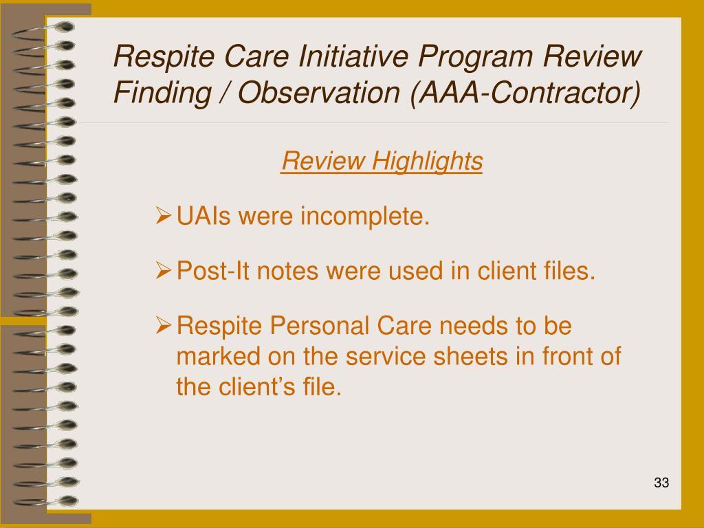 Respite Care Initiative Program Review