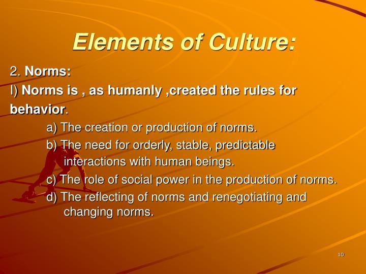 Elements of Culture: