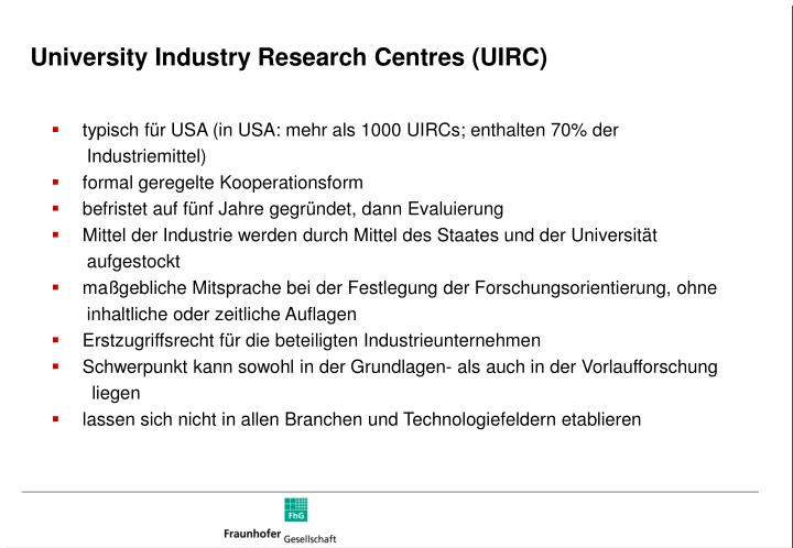 University Industry Research Centres (UIRC)