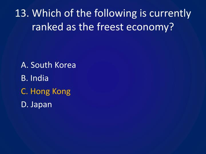 13. Which of the following is currently ranked as the freest economy?