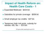impact of health reform on health care costs 1