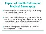 impact of health reform on medical bankruptcy