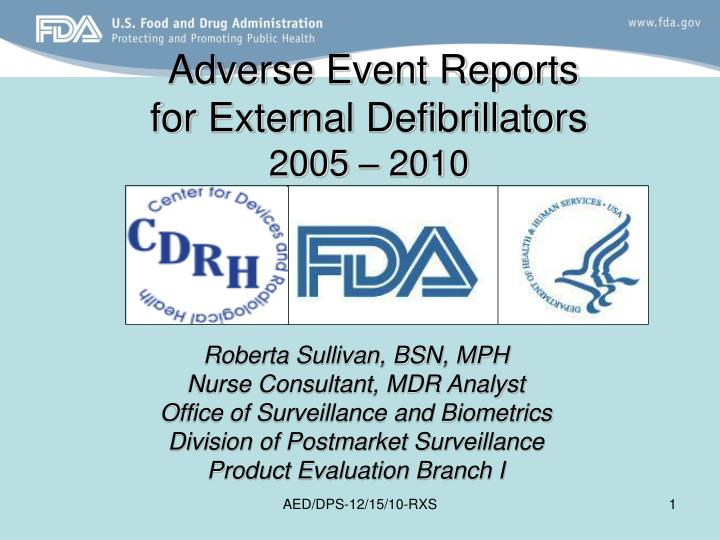 adverse event reports for external defibrillators 2005 2010 n.
