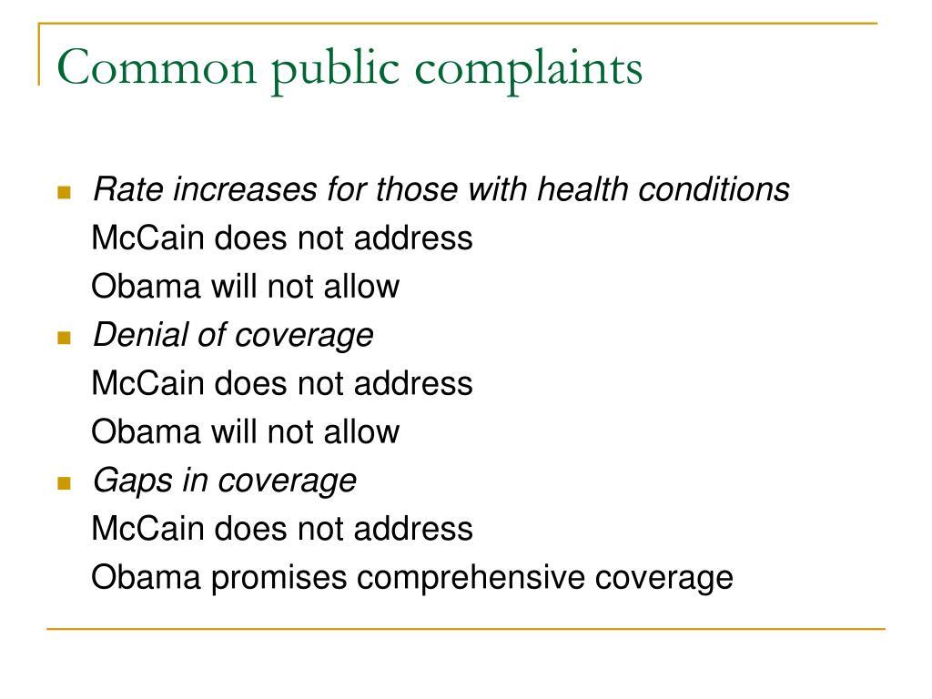Common public complaints