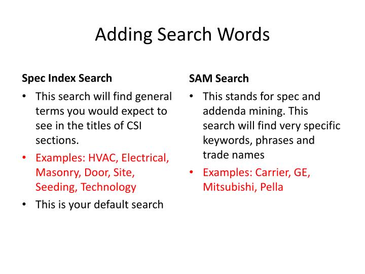Adding Search Words