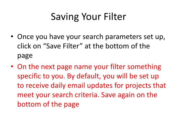 Saving Your Filter