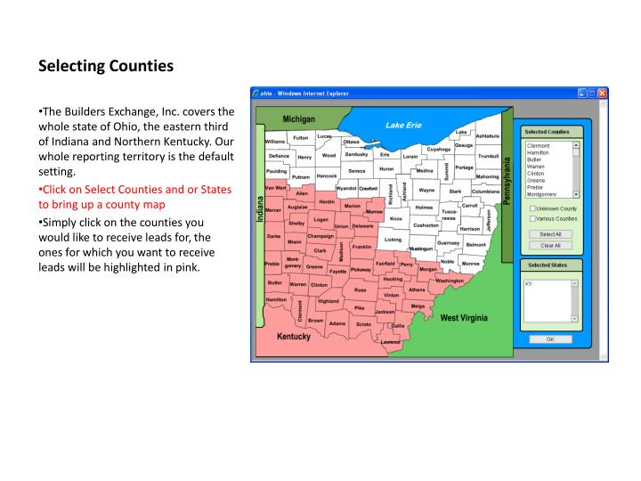 Selecting Counties
