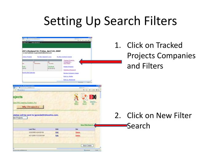 Setting Up Search Filters