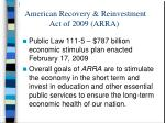 american recovery reinvestment act of 2009 arra