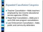 expanded cancellation categories