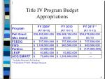 title iv program budget appropriations
