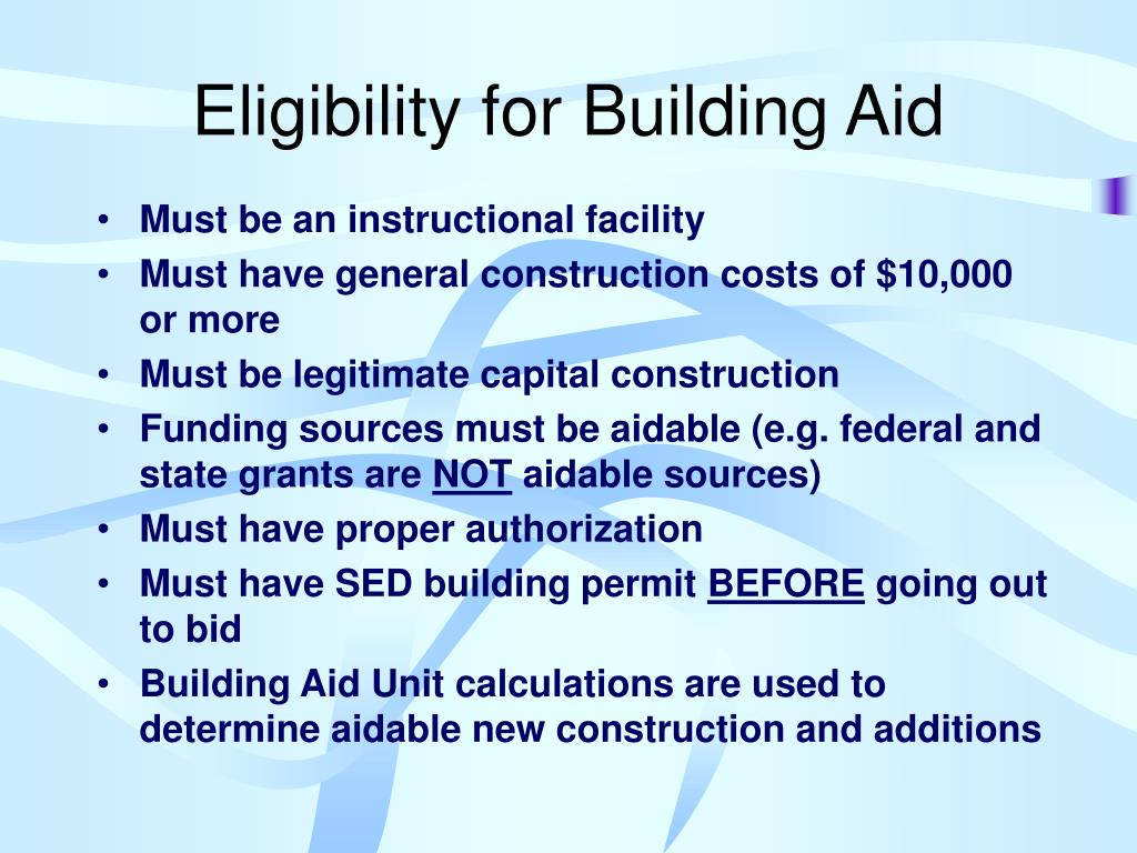 Eligibility for Building Aid