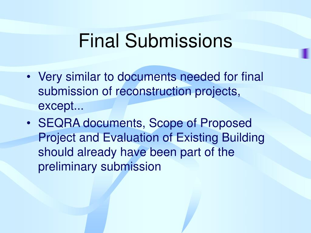 Final Submissions
