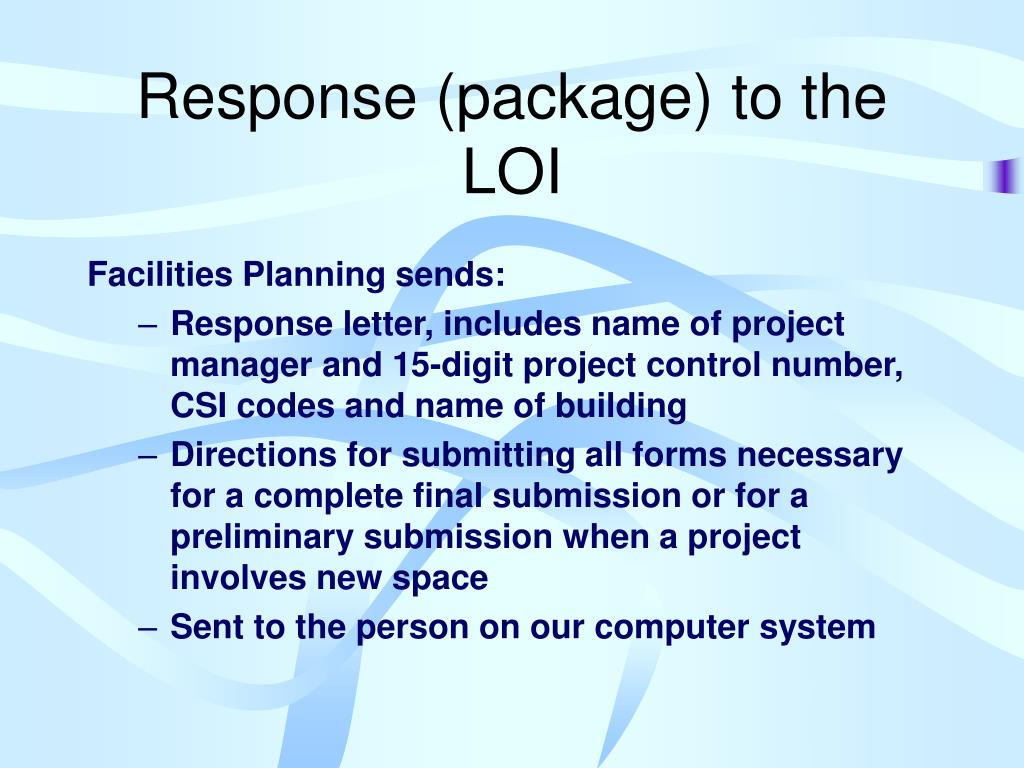 Response (package) to the LOI