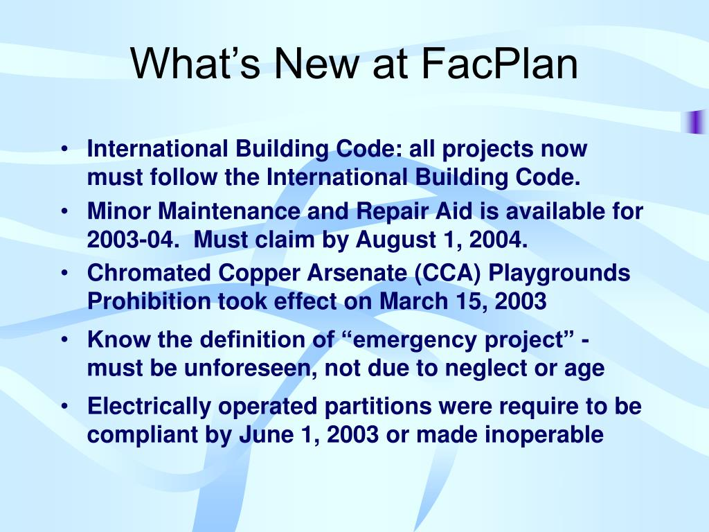 What's New at FacPlan
