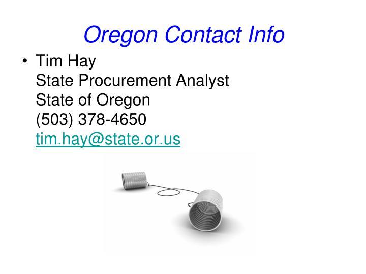 Oregon Contact Info