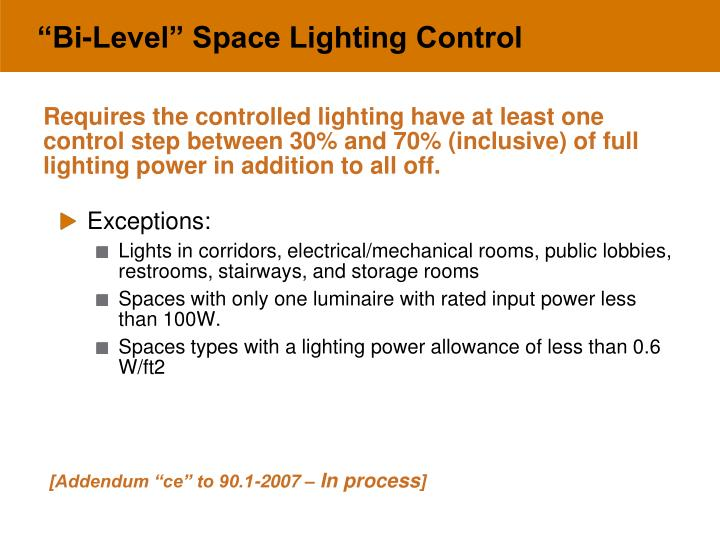 """Bi-Level"" Space Lighting Control"