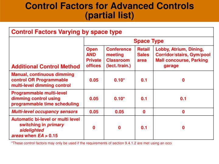 Control Factors for Advanced Controls (partial list)