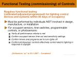 functional testing commissioning of controls